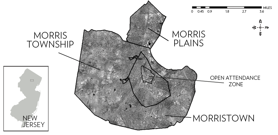 Figure 1. Orthophotography of the Morris School District, New Jersey. U.S. Census Bureau (2010), Decennial Census; N.J. Office of Information Technology (NJOIT), Office of Geographic Information Systems (OGIS) (2012), New Jersey High Resolution Orthophotography, and (2015), Municipal Boundaries; Morris School District (2016), Open Enrollment Boundary.