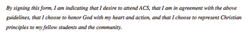Quote from Alamance Christian School Middle School / High School Commitment Statement. Source: alamancechristianschool.org.